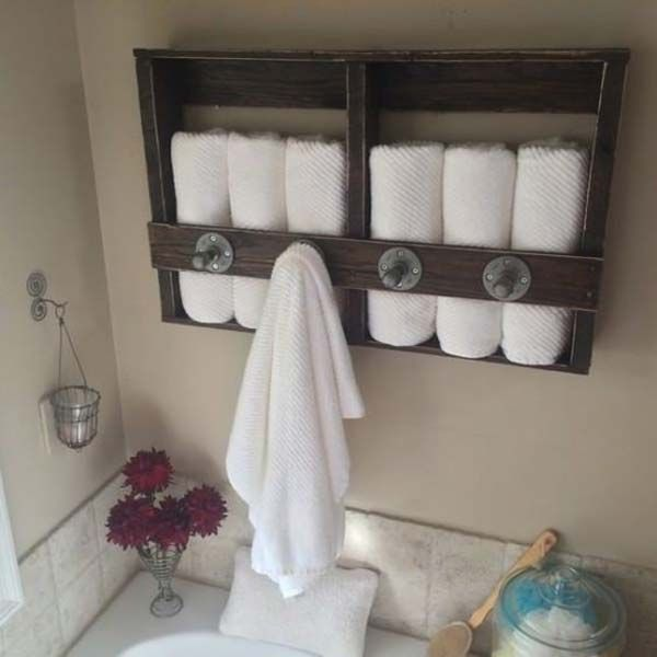 Best Bathroom Towel Storage Ideas On Pinterest Towel Storage - Bathroom wall shelf with towel bar for bathroom decor ideas