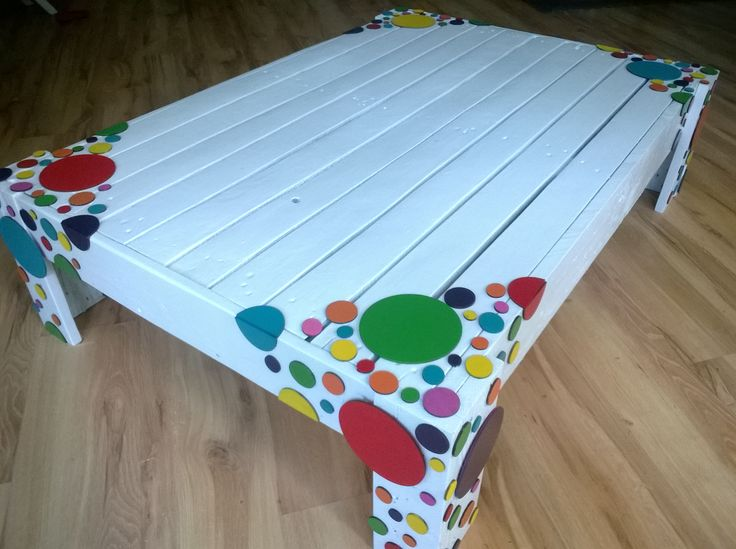 Stylish, recycled modern pallet multicolor decorated coffee table HAND MADE  http://www.ebay.co.uk/itm/251593306339?ssPageName=STRK:MESELX:IT&_trksid=p3984.m1555.l2648