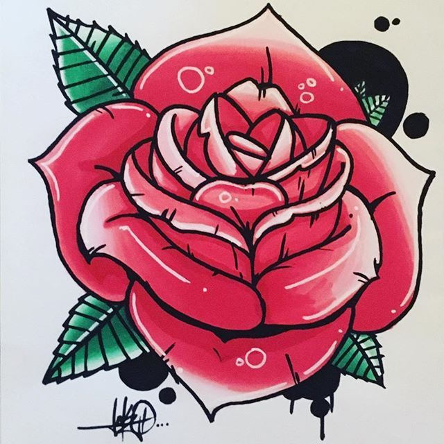 Gorgeous Rose Tattoo Design By Lakoartandco Using Their Chameleon Pens Chameleonpens Pen Marker Alco Old School Tattoo Old School Rose Rose Tattoo Design