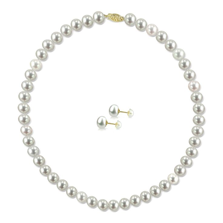 14k Yellow Gold 6-6.5mm White Freshwater Cultured Pearl Necklace 18' and Stud Earrings Set ** Details can be found by clicking on the image. (This is an Amazon Affiliate link)