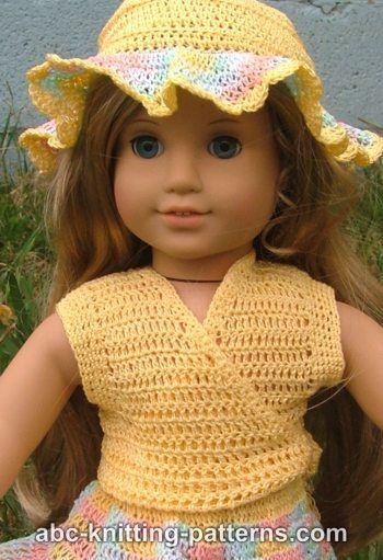 American Girl Doll Sleeveless Wrap Top Free Crochet Pattern