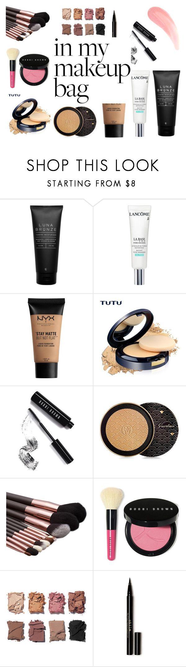 """make up bag"" by bec64 ❤ liked on Polyvore featuring beauty, Luna Bronze, Lancôme, NYX, Bobbi Brown Cosmetics, Guerlain, Illamasqua and Stila"