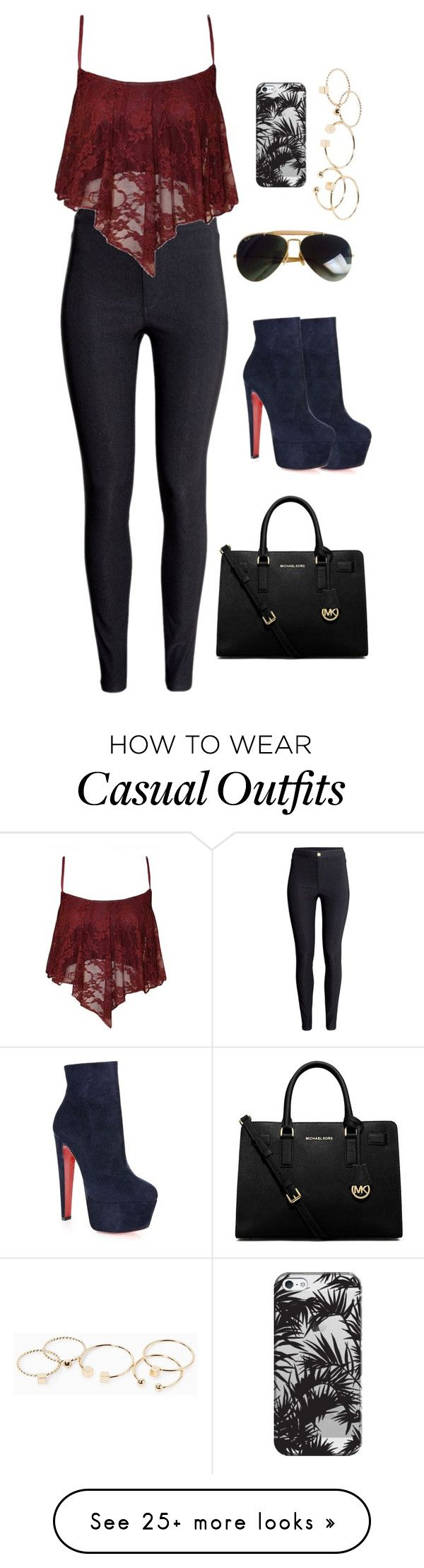 """""""Casual"""" by angelicana on Polyvore featuring Ray-Ban, MICHAEL Michael Kors, Casetify, MANGO, H&M and Christian Louboutin"""