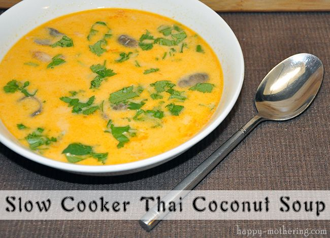 Super easy to make and delicious Slow Cooker Thai Coconut Soup Recipe! Better than our local Thai restaurant :-)