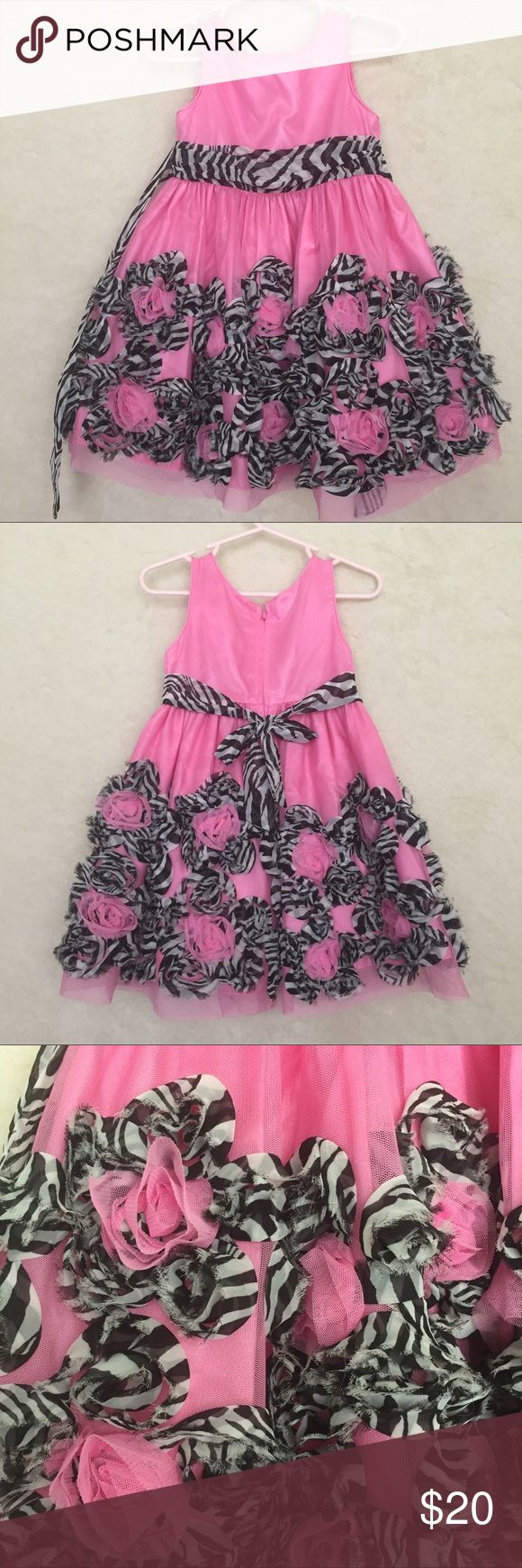 Sweet Heart Rose pink zebra print dress sz 2 Sweet Heart Rose pink dress with roses and zebra print sash and roses. Love ned and skirted for fullness size 2t Sweet Heart Rose Dresses Formal