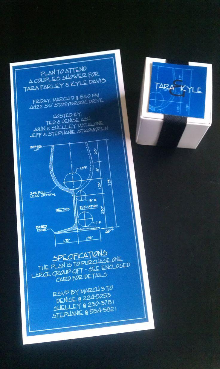 Fun architectural invitation and favor box we