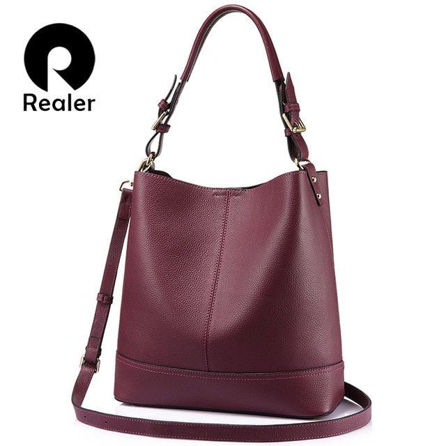 2pcs Women Girl PU Leather Drawstring Bucket Bag Shoulder Handbags Multi Purpose