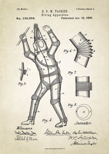 This isn't concept art for the Tin Man in The Wizard of Oz, it is a 1880 patent of a metal diving suit designed by Stephen M. Tasker. It was intended to withstand the pressure of diving underwater.
