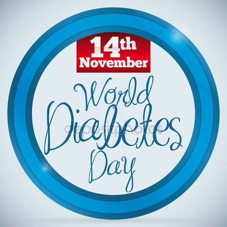 Reminder Date of World Diabetes Day over Blue Circle