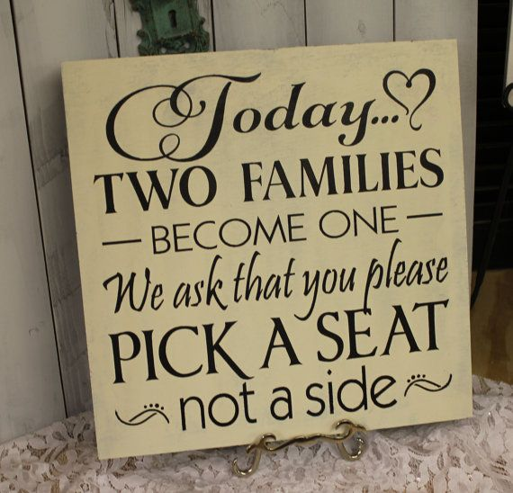 Wedding signs/Today Two Families Become One/Pick a Seat not a Side Sign/U Choose Colors on Etsy, $33.91 CAD