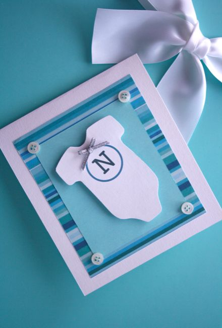 Onnittelukortti vauvalle: body ja napit / Cute Onsie Card with Buttons for a New Baby