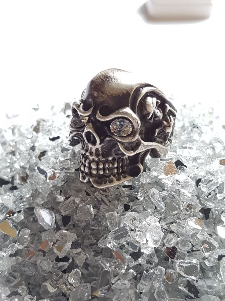 Silver oxidized silver skull. check out the my etsy shop