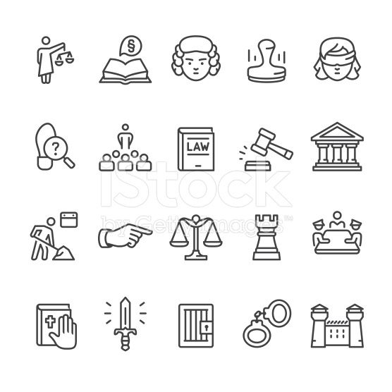 Law & Court vector icon set royalty-free stock vector art