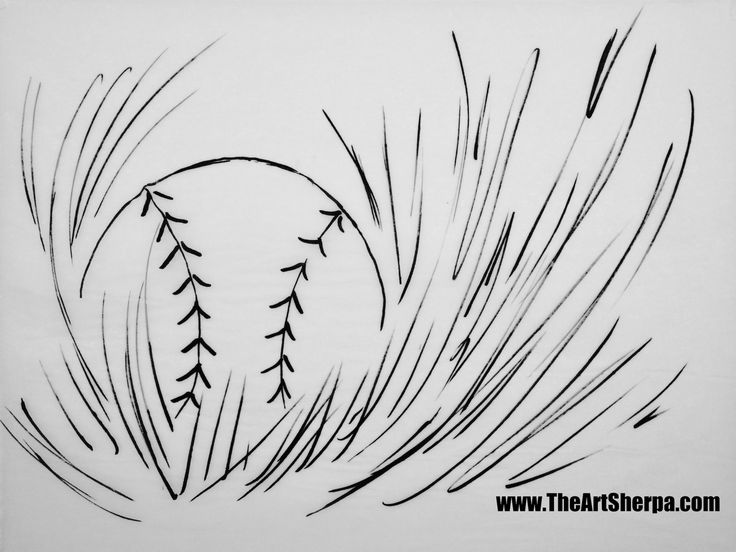 The baseball in grass coloring page and Traceable™ https://theartsherpa.com/tas170620.01