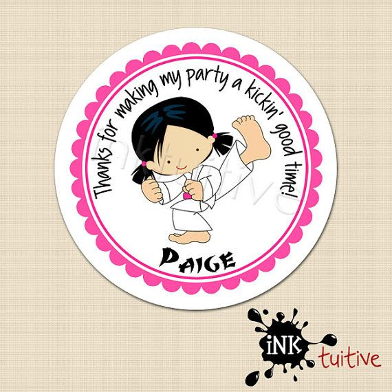 Karate Girl Personalized Stickers - Favor Labels, Party Favor Stickers, Birthday Stickers - Choice of Size