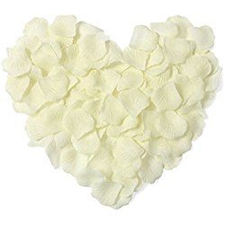 EPYA 100pcs Silk Rose Petals Artificial Flower Valentine's Day Gift Ivory