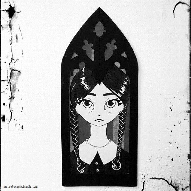 """""""Wednesday's at that very special age when a girl has only one thing on her mind."""" """"Boys?"""" """"Homicide.""""  #WednesdayAddams #theAddamsFamily #fanart"""