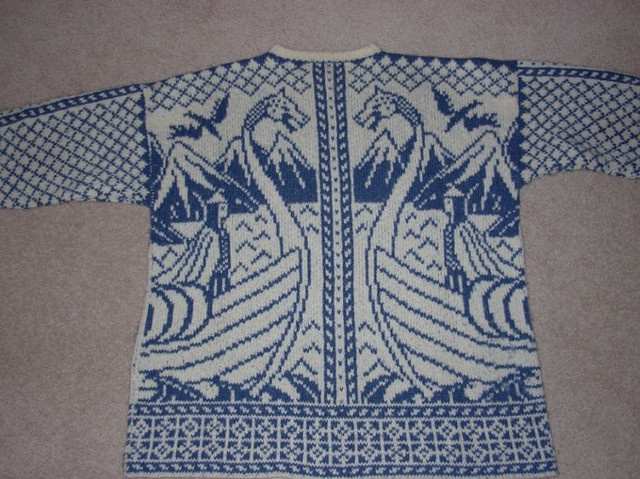 Viking Sweater back by Ann in Ottawa, via Flickr.  Incredible pattern.  free on Ravelry