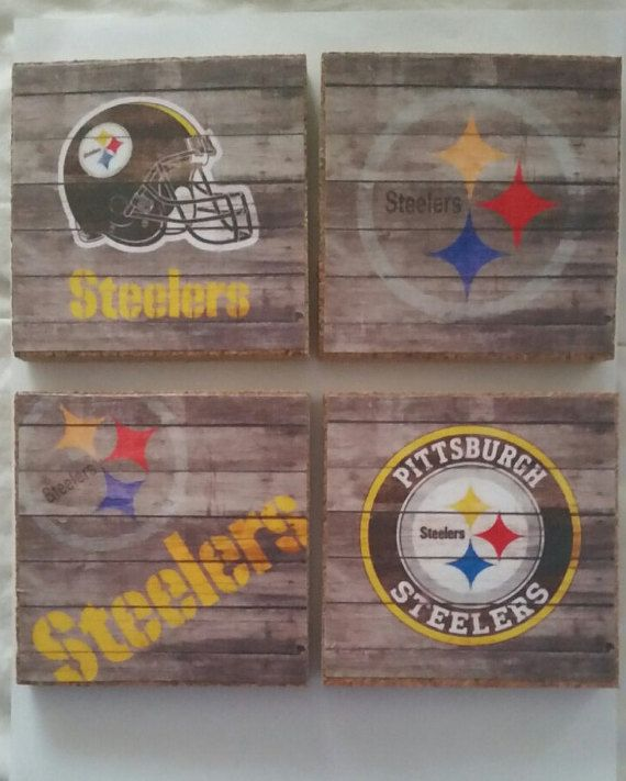 Pittsburgh Steelers Coasters Cork set of by BrumbleBerryBoutique