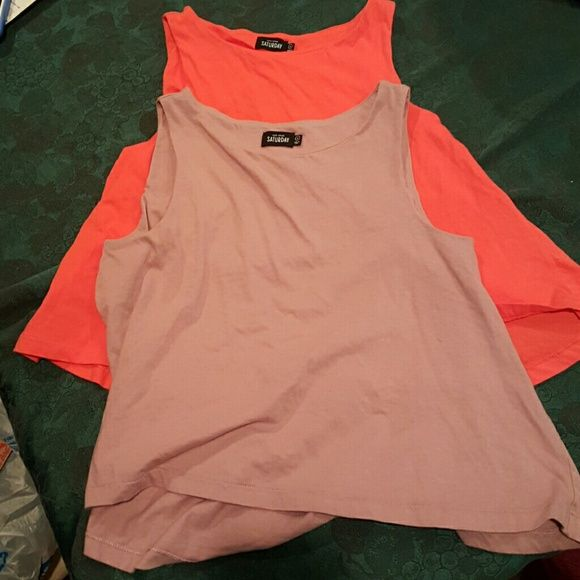 TWO Kate Spad Saturday Ones purple and orange both size small kate spade Tops Muscle Tees