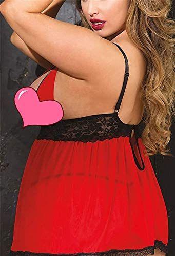 3626b70acee JuicyRose Women Plus Size Lingerie Sleepwear, Lace Split Cup Babydoll  Chemise Set, #Ad