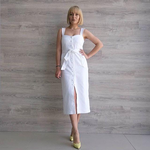 WEBSTA @ klukva_bobruisk - New😍 На Юле: белоснежное джинсовое платье R.O.S.E на кнопках, размер 42,44,46