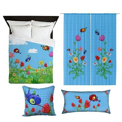HummingBird blue Checked Duvet + blue checked curtain and 2 cushions set by sparkheadkids.com