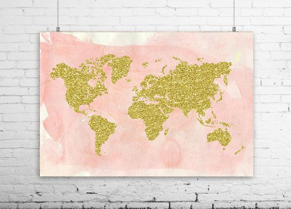 World map art, baby room decor, wall prints, living room art, Weltkarteplakat, home decor, large world map, gold glitter, world map canvas, by Ikonolexi on Etsy