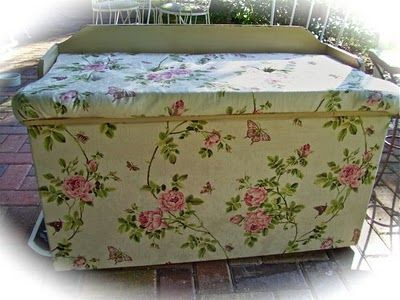 DIY...covering a furniture piece with fabric.  I would use a different fabric than shown in this picture!