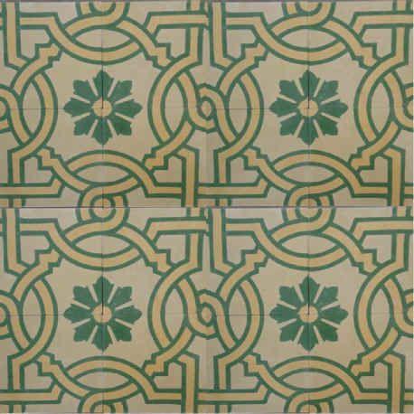 Patterned cement floor tiles