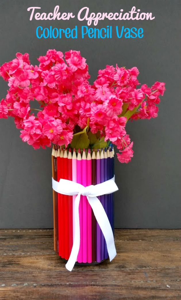 This pretty DIY Colored Pencil Vase is a fun craft idea for a homemade Teacher Appreciation gift!