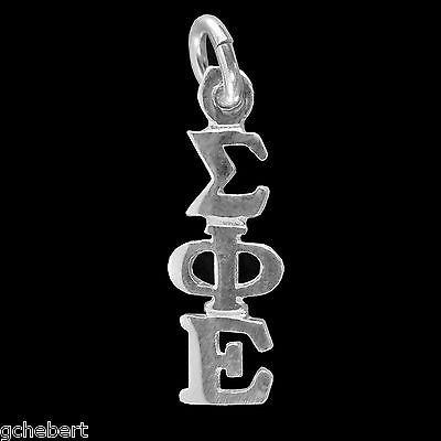 Sigma Phi Epsilon .925 Silver Greek Drop Letter Lavalier Classic Pendant NEW