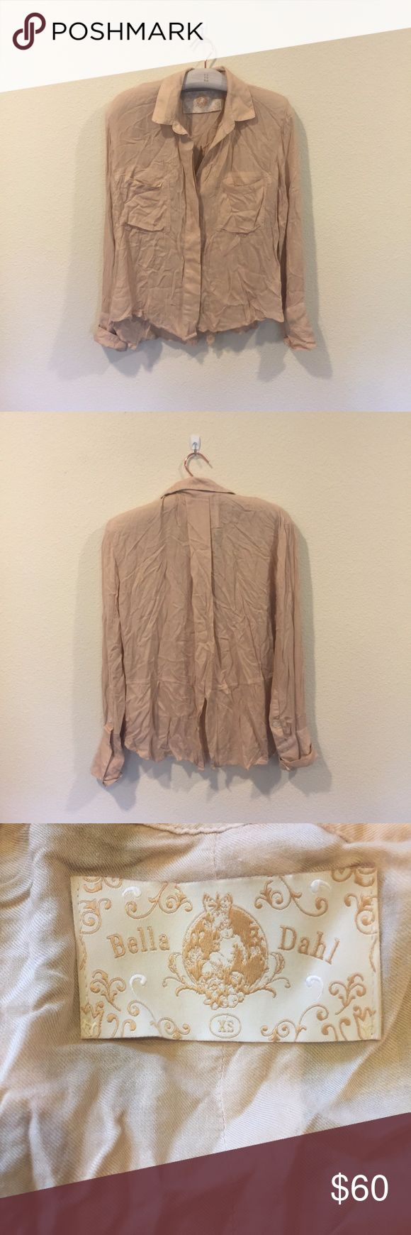 Bella Dahl button down tan shirt Perfect closet staple! From the So Sage blog. No trades. Bella Dahl Tops Button Down Shirts