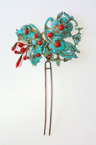 Antique Chinese Gilded Silver Kingfisher Coral Butterfly Floral Hair Pin | eBay