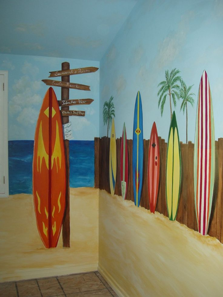 Beach Mural...I love this!  Scott's Man Cave : )