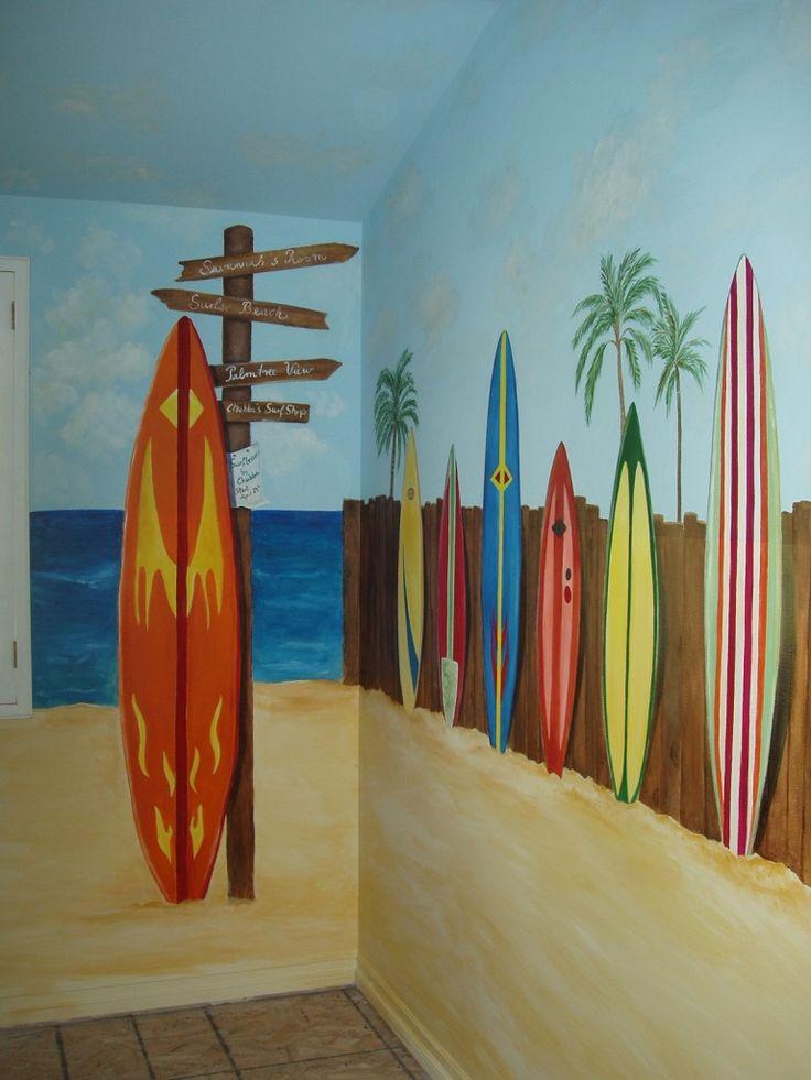 Beach Mural...I love this!  Scott's Man Cave : )