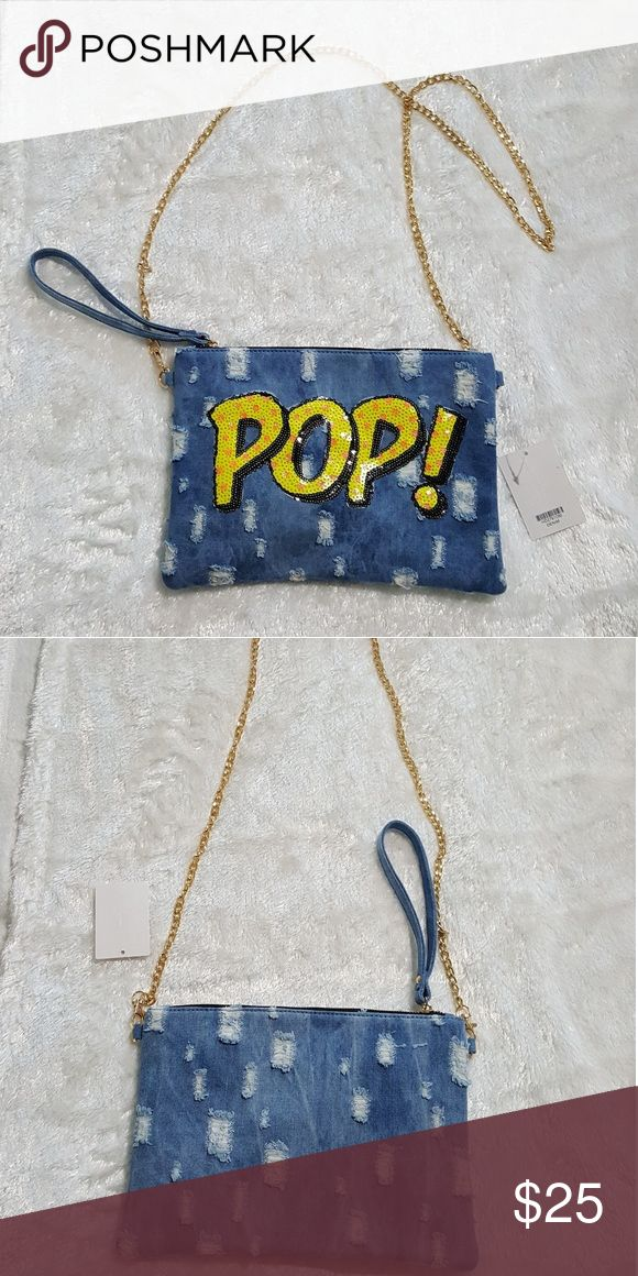 Denim clutch bag Denim distressed clutch bag with gold chain New Pop has sequince. -11.5 across x 8 height - Optional chain strap - Optional wristlet strap - Zipper closure with interior pocket joia Bags