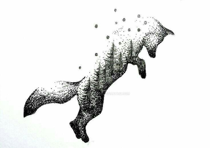 Jumping fox tattoo, I really like this