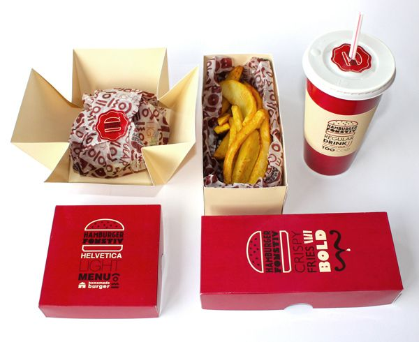 Creative #Branding For Hamburgers That Uses Fonts To Describe Food #PackageDesign