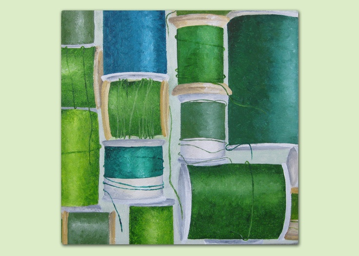 Green Cottons painting - acrylics on canvas by Laura Bridgford Art