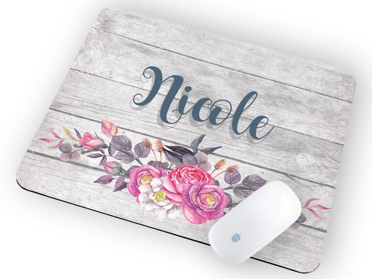 Personalized Floral Mouse Pad with Name
