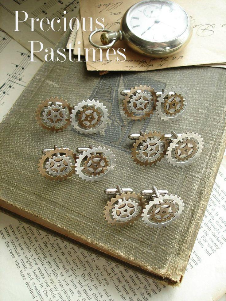 GROOMSMEN GIFTS Set of 5 - Steampunk Wedding Cufflinks. Victorian Steampunk Jewelry. Antique Silver & Brass Gears. Industrial Mens Jewelry.. $172.50, via Etsy.