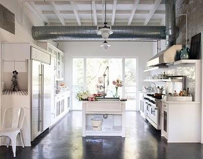 rustic industrial kitchen: Polish Concrete, Dreams Kitchens, Loft Kitchens, Industrial Kitchens, Industrial Chic, House, Open Kitchens, Concrete Floors, White Kitchens