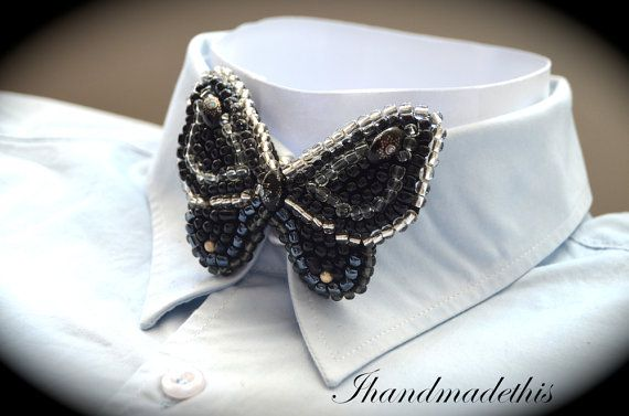 Black and white beaded butterfly bow tie beads by Ihandmadethis