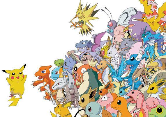Pokemon Pikachu Pokemons Art BigTiled Print Poster, Various sizes from A3