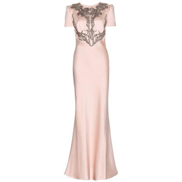 Alexander McQueen Floor-Length Satin Gown found on Polyvore featuring dresses, gowns, long dresses, alexander mcqueen, pink, cocktail/gowns, pink satin gown, satin evening gown, pink evening dress and floor length evening gowns
