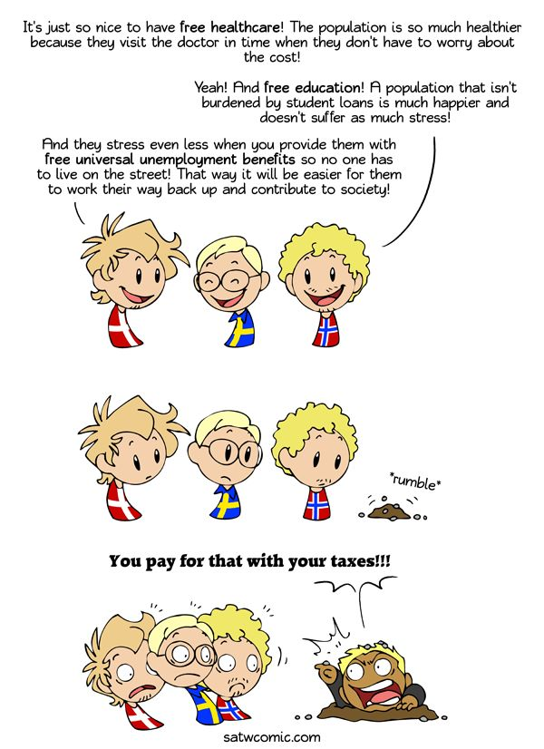 """Every time: Every time someone talks about free this or that in the Nordic countries an American will pop his head up and yell """"It's paid for with your taxes"""" without fail."""