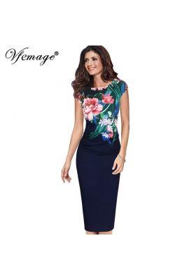V Femage Yarım Kol Mavi Çiçekli Kalem Elbise