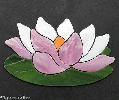 Precut Stained Glass Art Kit Pink Lotus Waterlily Mosaic Garden Pond Tile Inlay   eBay