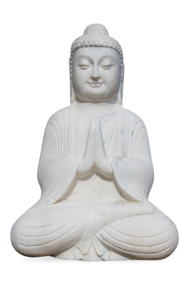 Buddha Statue Fur Den Garten Mit Betender Handhaltung Aus Weissem Marmor Stein Betende Buddha Figur Aus Marmorstein Erschaffen Diese Geste Wird Auch Namaskar